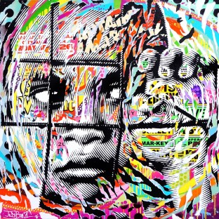 BEHIND FENCES 1 by Jo Di Bona 2016 100x100 technique mixte sur toile