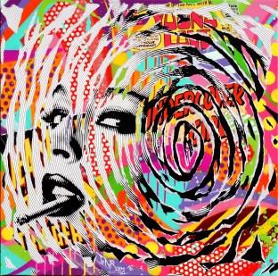 CIGARETTES AND ALCOHOL by Jo Di Bona 2016 80x80 technique mixte sur toile