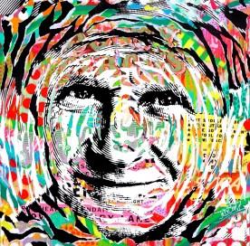GREEN SMILE by Jo Di Bona 2016 100x100 technique mixte sur toile