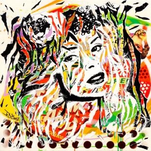 JUICY LADY by Jo Di Bona 80x80x4 technique mixte sur toile 2016