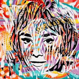 MY FAIR LADY by Jo Di Bona 2016 80x80 technique mixte sur toile