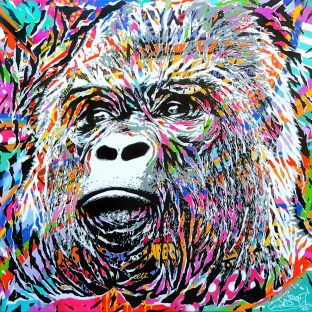 ENDANGERED HOMINIDAE by Jo Di Bona 2017 120x120 technique mixte sur toile