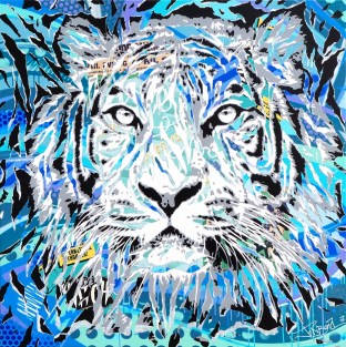 ICE BREAKERS TIGER by Jo Di Bona 2017 120x120 technique mixte sur toile