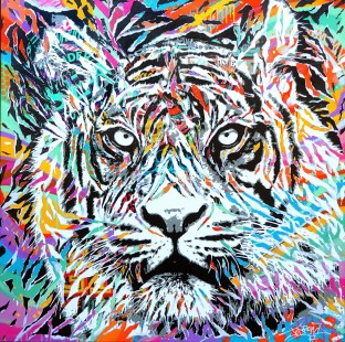 ILLUSION TIGER by Jo Di Bona 2017 120x120 technique mixte sur toile