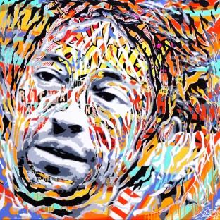 LA CHANSON DE PRÉVERT by Jo Di Bona 2017 100x100 technique mixte sur toile
