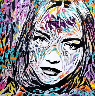 GEMMA WARD HERMES by Jo Di Bona 2018 100x100 technique mixte sur toile
