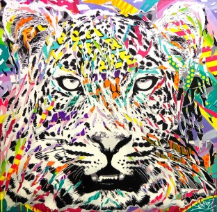 MIDNIGHT CHEETAH by Jo Di Bona 2018 120x120 technique mixte sur toile