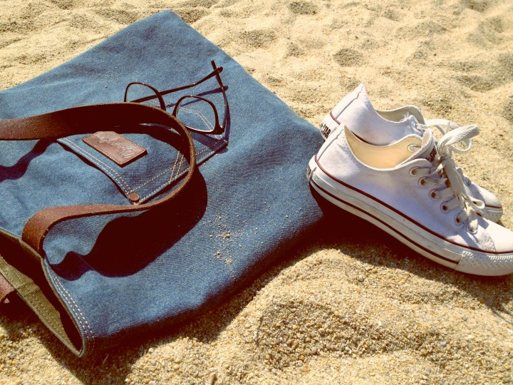 beach bag and shoes