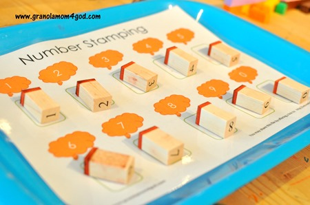 number stamps on a tray