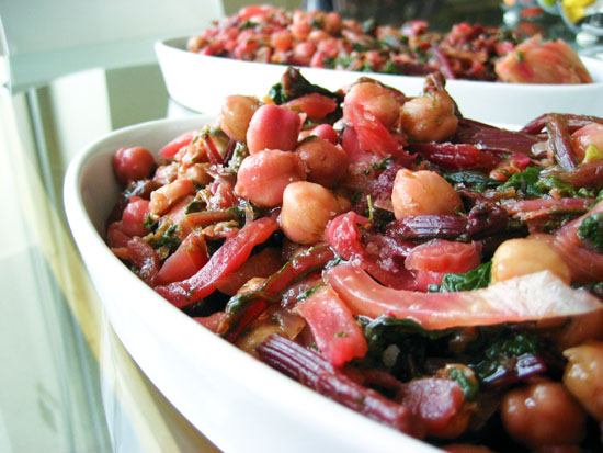 Chick pea salad with fennel and spinach or beet greens