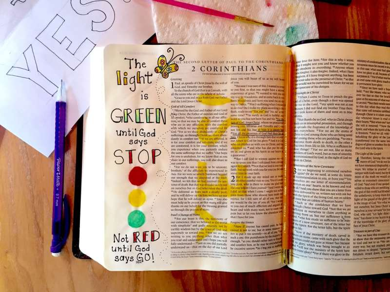 Bible journaling tutorial The light is green by JoDitt