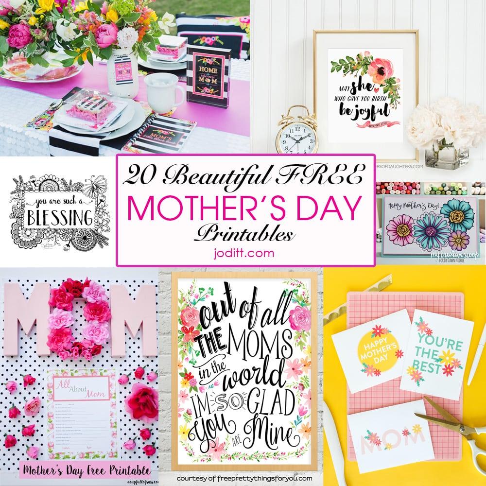 20 beautiful free mother u0027s day printables joditt designs