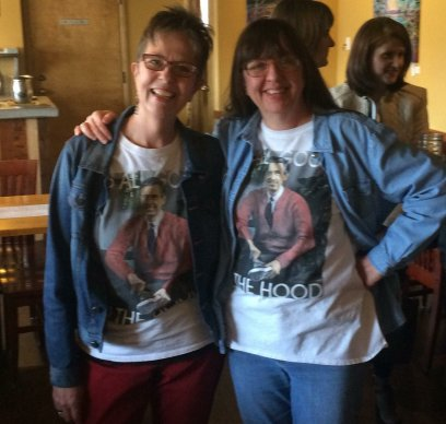 laura and I in our Mr rogers t shirts