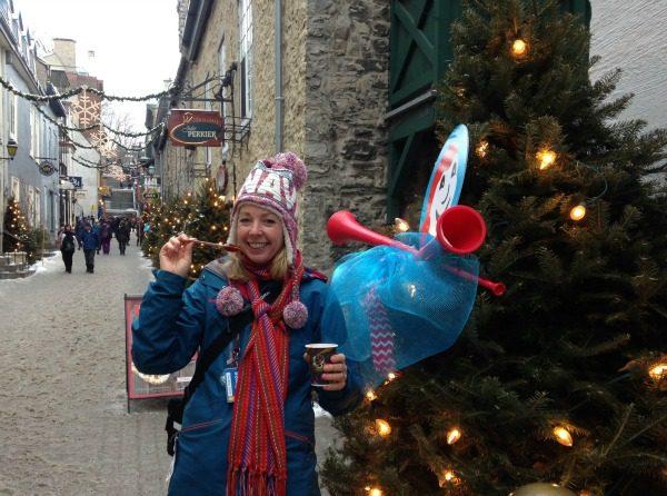 woman celebrating winter carnival
