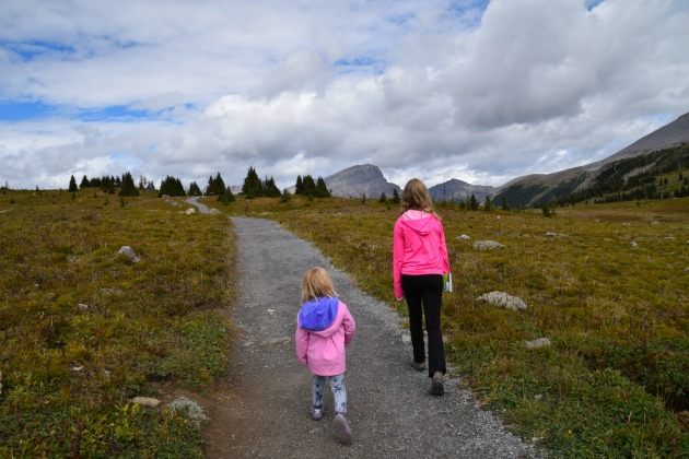 children hiking banff national park