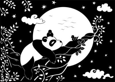 Panda-auf-Tuch-gedruckt