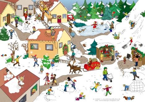 Weihnachtliches wimmelbild