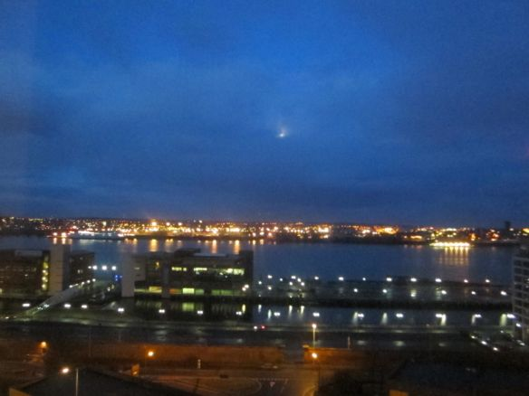 The view from my hotel suite in Liverpool, I took in many sunrises (insomnia) and a few sunsets on off days.