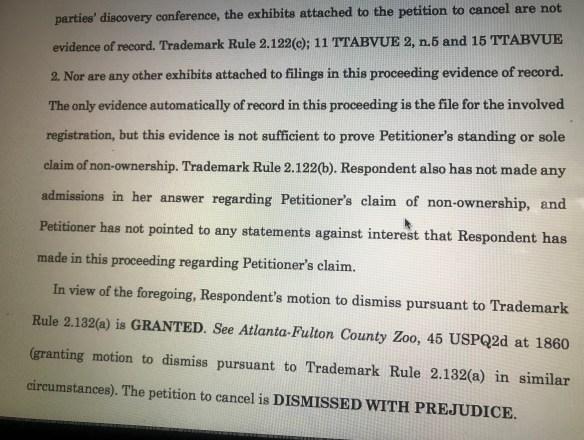 Dismissal Jody Watley Shalamar Trademark