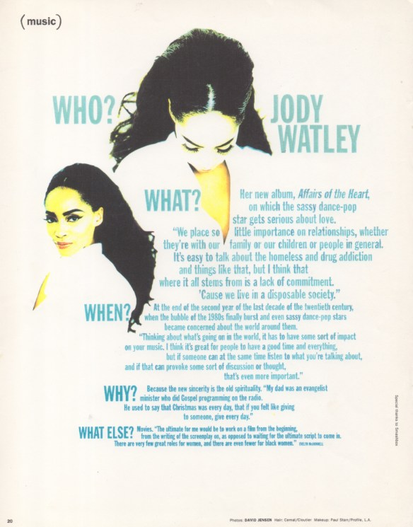 Jody Watley - Interview Magazine 1991