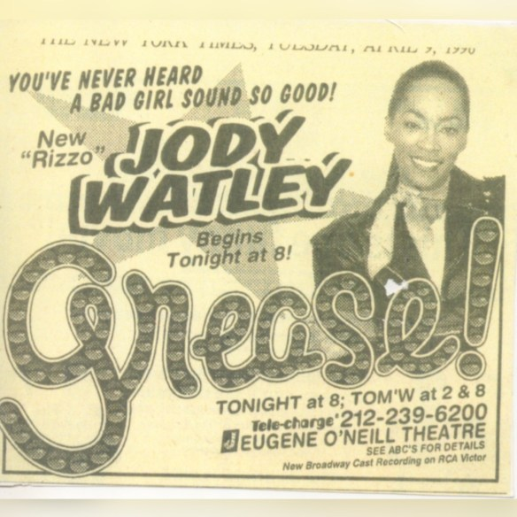 Jody Watley Live in Grease The Musical Ad 1996 NYC Broadway
