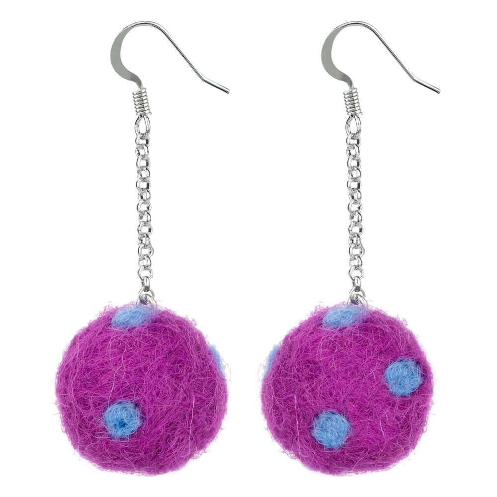 Drop Earring Pompom On Chain Made With Cotton by JOE COOL
