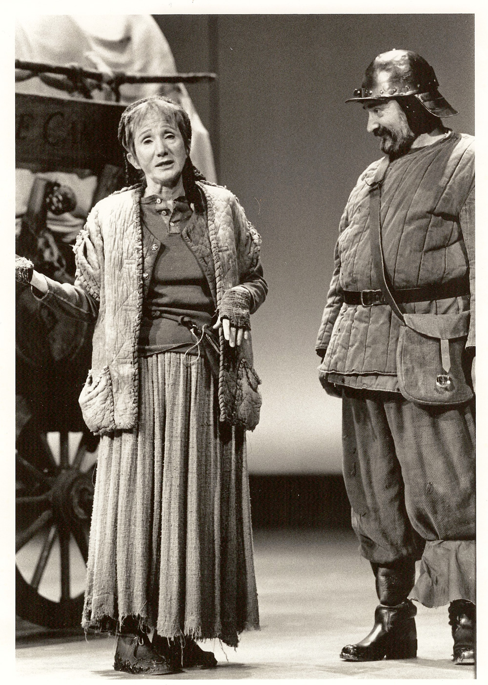 "Olympia Dukakis with Joe Costa in ""Mother Courage"""