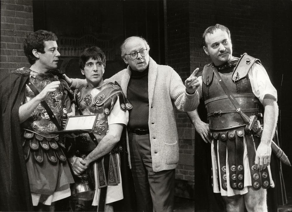 """Al Pacino, Rob Curtis Brown, Director Stuart Vaughn and Joe Costa in """"Julius Caesar"""""""