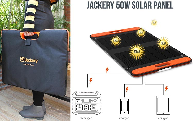 New Jackery Explorer 240 Camping Generator offers Multiple Options for RV living. The photo on the left shows how the Jackery Solar Panel folds up into a carry bag, and the diagram shows what the solar panel looks like and what it can charge