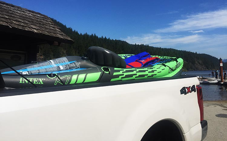 Review and Assembly of the Intex Challenger K1 Kayak – the Best Lightweight, Budget, Inflatable Kayak for RV Living. We can easily transport both kayaks on the back of our truck. We have a long-bed Ford, and the kayaks are about the length of the bed