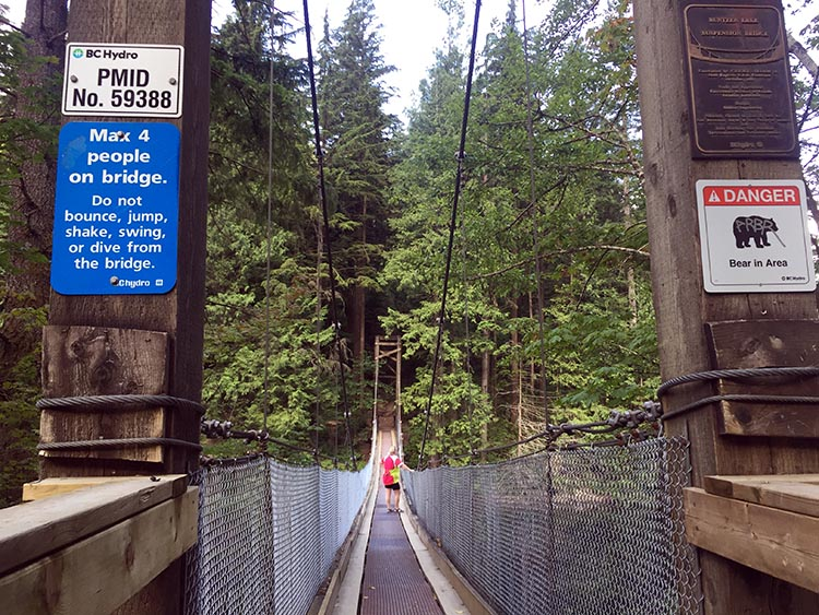 Biking and Hiking Near the Anmore RV Park in the Buntzen Lake Area, British Columbia. Just past North Beach is this lovely suspension bridge, which gives you great views of Buntzen Lake