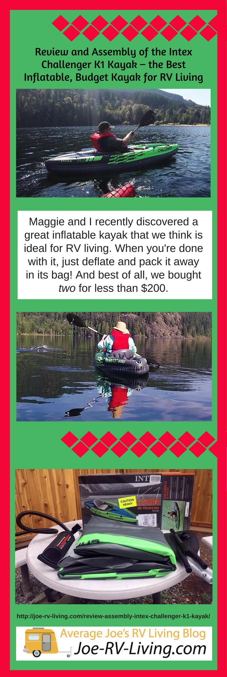 Review and Assembly of the Intex Challenger K1 Kayak – the Best Lightweight, Budget Kayak for RV Living