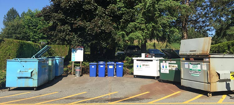 Review of the Burnaby Cariboo RV Park, Near Vancouver. There is a very well-organized recycling and garbage station, including a large composting bin