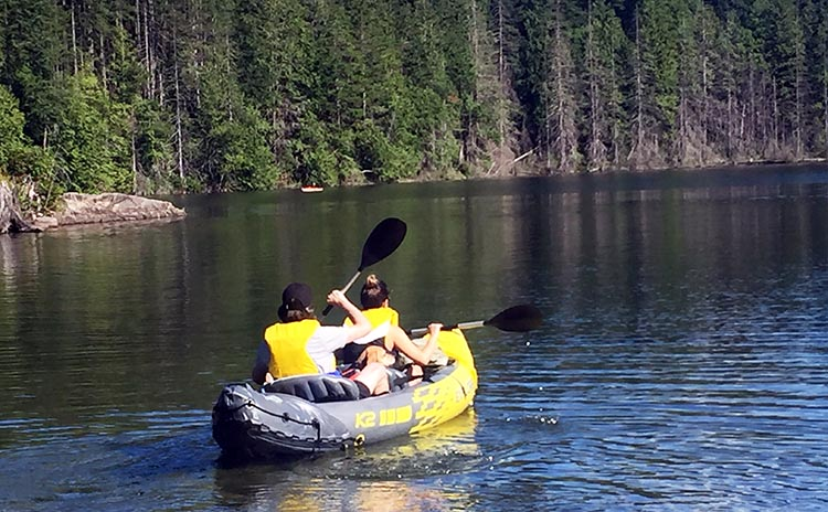 Biking and Hiking Near the Anmore RV Park in the Buntzen Lake Area, British Columbia. We watched this young couple launch their inflatable Intex Challenger K2 kayak, and set off with their beagle