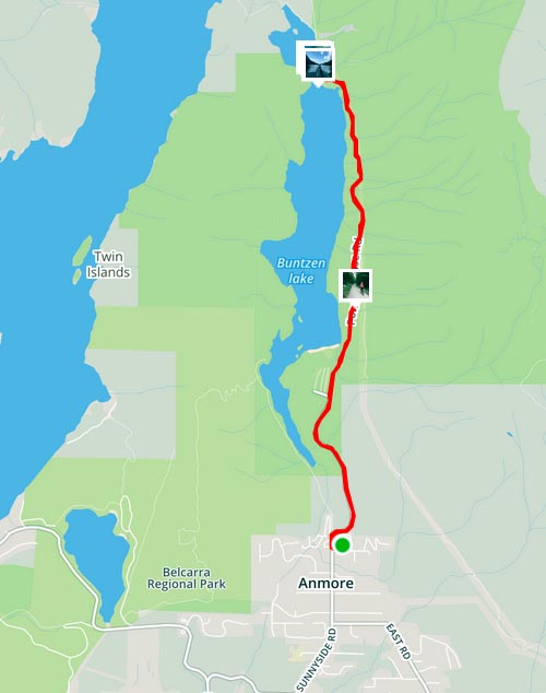 Cycling near Buntzen Lake, British Columbia, Canada. Map of our bike ride from Anmore RV Park to the North Beach of Buntzen Lake