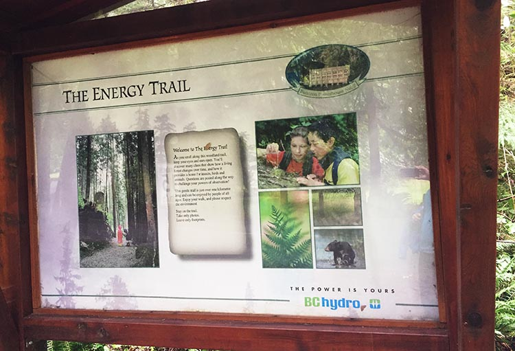 The signpost at the beginning of the Energy Trail explains that it is an educational trail