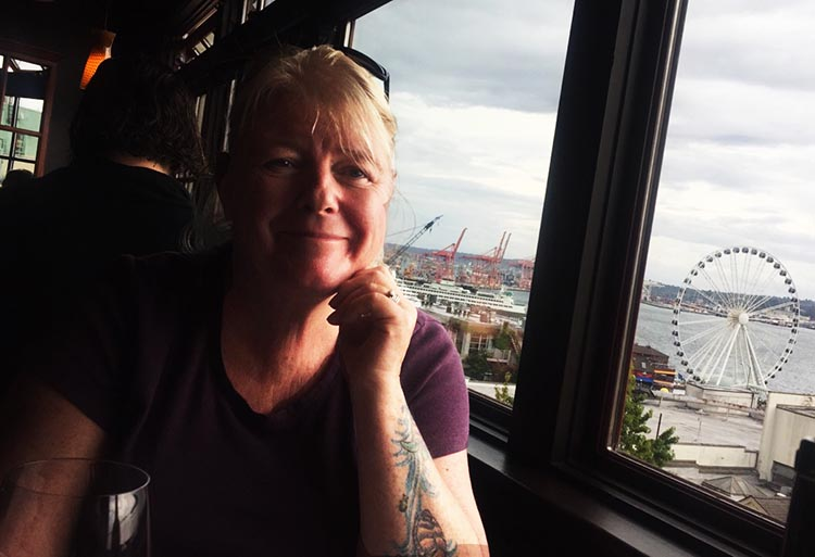 "What Can You Do When Your RV is Having Repairs? Our favorite Seattle restaurant was Lowell's, a seafood restaurant at Pike Place Market that has the amusing tagline, ""Almost classy since 1957."" Here's Maggie, with the Seattle Big Wheel in the background"