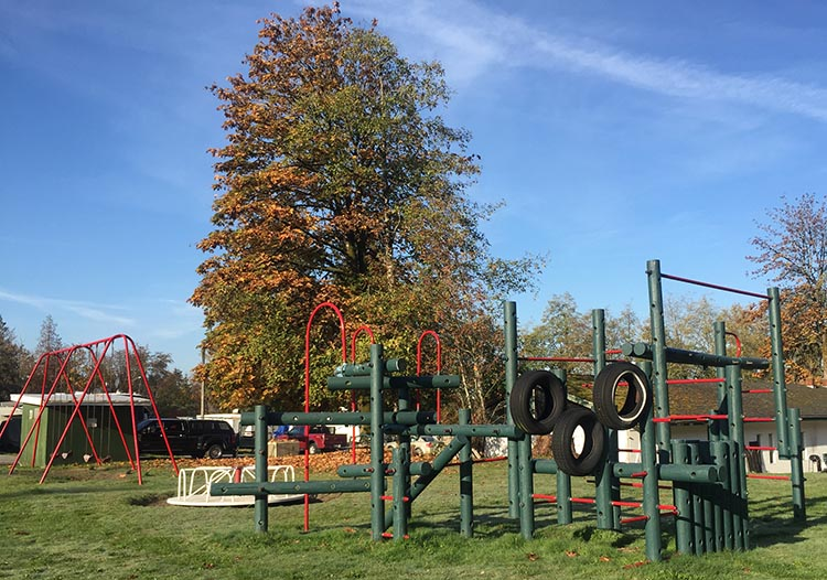 The children's playground at Dogwood RV Park