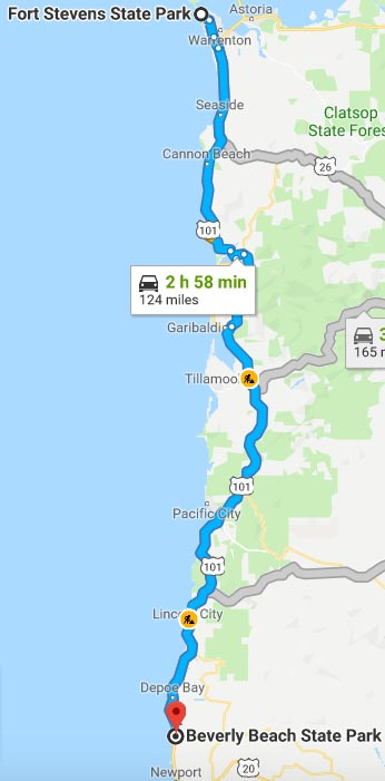 Our Experience of RV Camping at Beverly Beach and Humbug Mountain State Parks, Oregon Coast. Map of our route along US 101 from Fort Stevens to Beverly Beach State Park