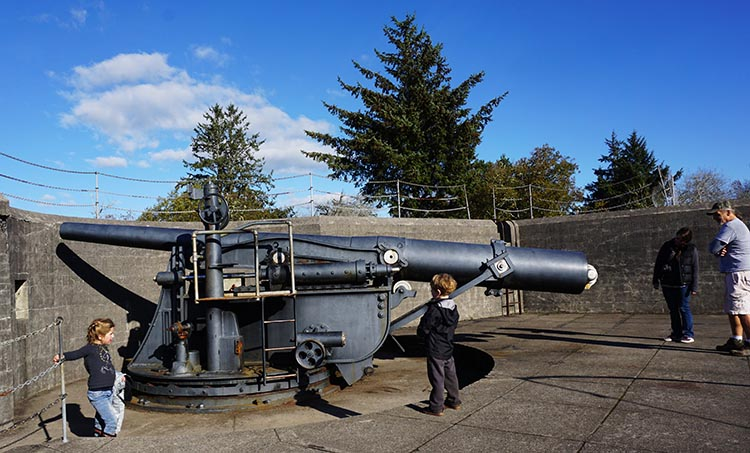 Bike Trails at Fort Stevens State Park in Oregon. This is the biggest gun at Fort Stevens