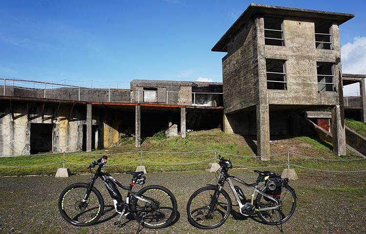 Bike Trails at Fort Stevens State Park in Oregon. The sailors from the wrecked Peter Iredale took refuge in these buildings at Fort Stevens