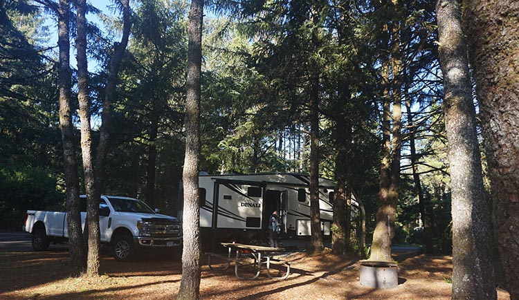 Our Experience of RV Camping at Beverley Beach and Humbug Mountain State Parks, Oregon Coast. Our spacious and private site at Beverley Beach State Park