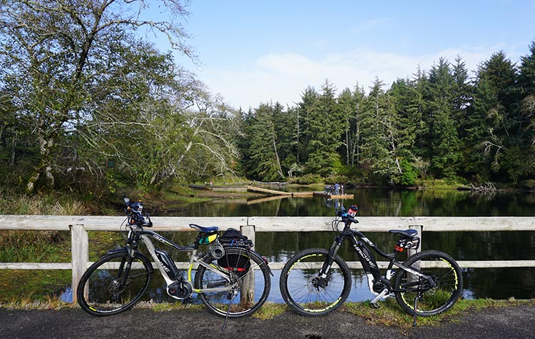 Review of Fort Stevens State Park, Northern Oregon Coast. Our bikes at Coffenberry Lake
