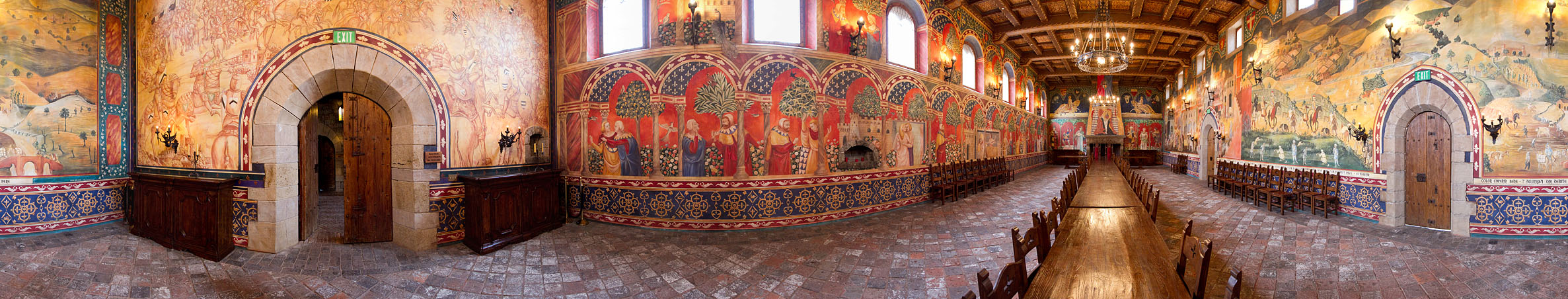 Winery Tours in Calistoga, Napa Valley, California. 360° panorama of the Great Hall at Castello di Amorosa - photo by David Ball
