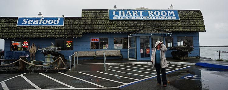 Review of Mystic Forest RV Park, near Klamath, California. Here's Maggie outside the Chart Room, which is a very nice seafood restaurant right next to the water. You can watch sea lions from your table