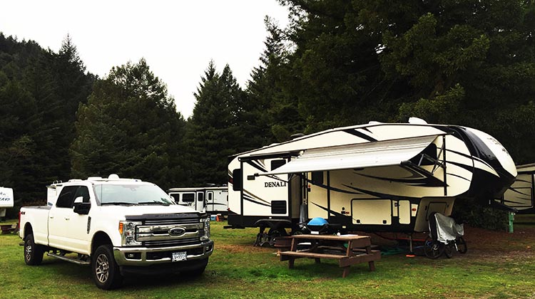 Review of Mystic Forest RV Park, near Klamath, California. Our truck and Denali fifth wheel in the Mystic Forest RV Park. As you can see, we had plenty of space