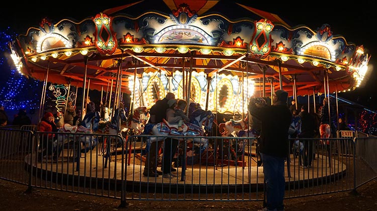 Review of A Country RV Park, Bakersfield, California. The carousel at the Holiday Lights at the CALM (California Living Museum)