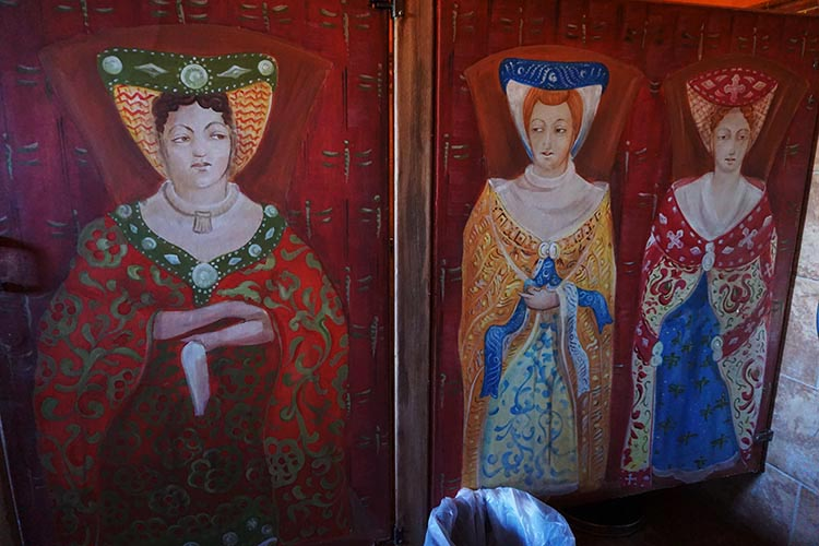 Winery Tours in Calistoga, Napa Valley, California. This is a mural in the women's washroom at the Castello di Amorosa