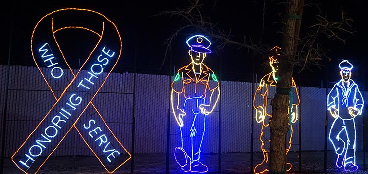 Review of A Country RV Park, Bakersfield, California. Lights honoring those who serve at the Holiday Lights at the CALM (California Living Museum)