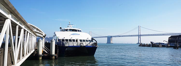 The ferry at the San Francisco Ferry Terminal in the Embarcadero area
